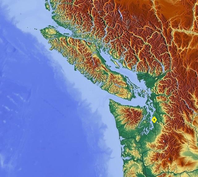 Topographische Landkarte des Pazifischen Nordwesten