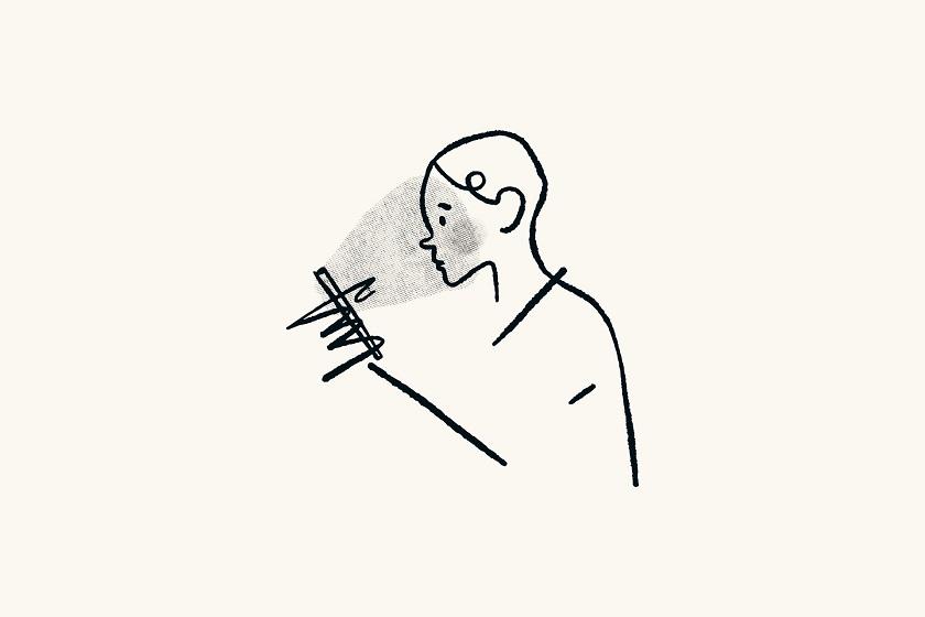 Minimalismus Apps Zeichnung Person schaut aufs Handy