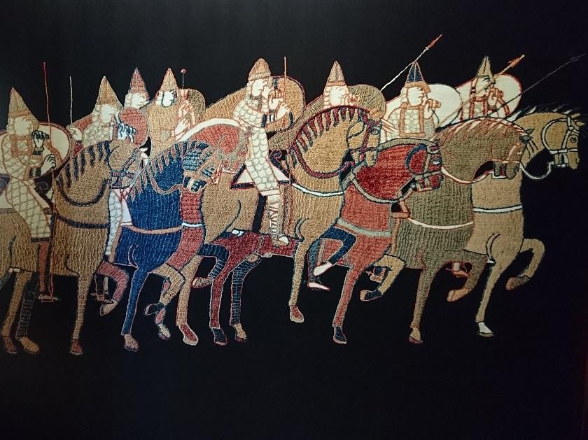 Normandie Sehenswürdigkeiten: Ausschnitt des Teppichs von Bayeux