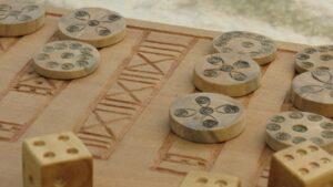 Chessboard in Viking village of Ornavik, Normandy