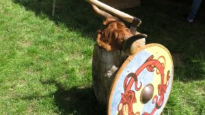 Viking shield in the village of Ornavik, Normandy